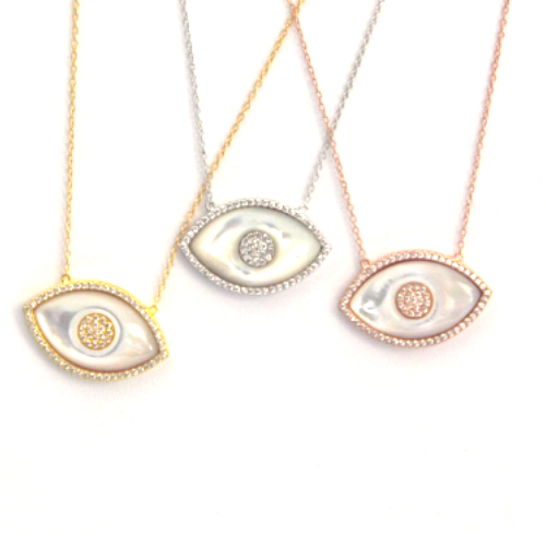 Mother of Pearl Evil Eye Necklaces