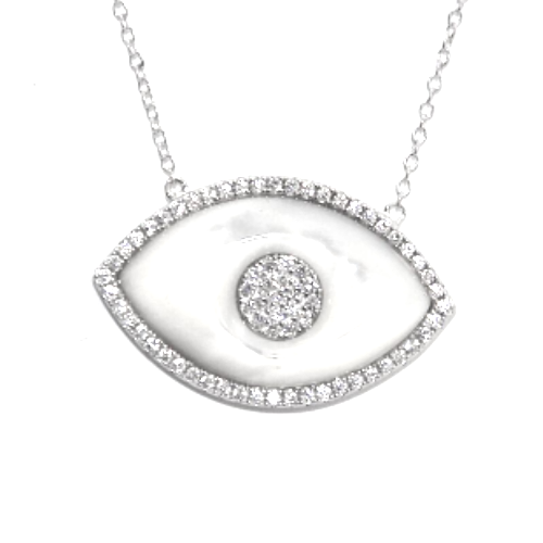 Mother of pearl evil eye necklace mb jewelry shop rosegoldevileye mother of pearl evil eye white gold aloadofball Image collections