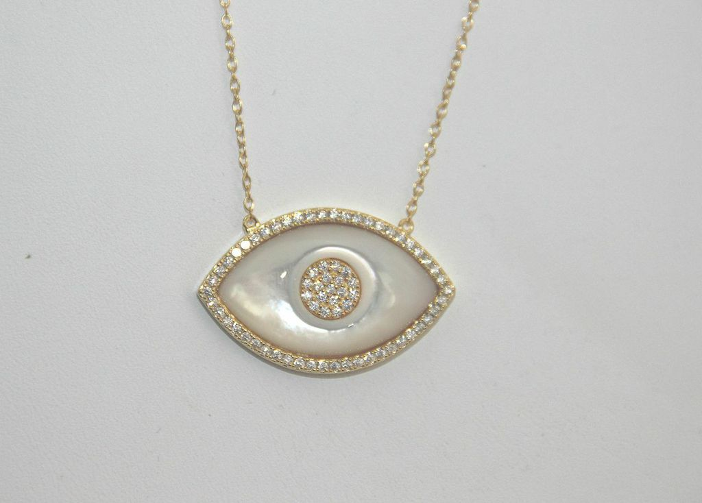 Mother Of Pearl Evil Eye Necklace Mb Jewelry